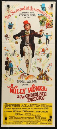3a0722 WILLY WONKA & THE CHOCOLATE FACTORY Aust daybill 1971 Gene Wilder, it's scrumdidilyumptious!