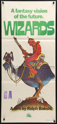 3a0724 WIZARDS Aust daybill 1977 Ralph Bakshi directed, cool fantasy art by William Stout!