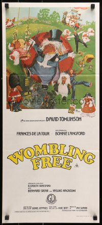 3a0725 WOMBLING FREE Aust daybill 1977 David Tomlinson, completely different wacky art!