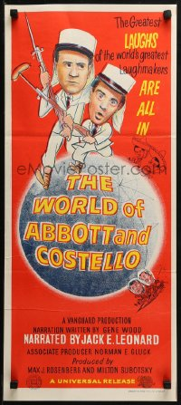 3a0726 WORLD OF ABBOTT & COSTELLO Aust daybill 1965 Bud & Lou are the greatest laughmakers!