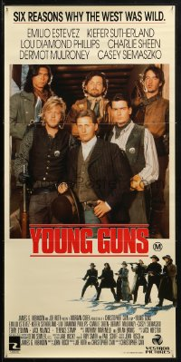3a0729 YOUNG GUNS Aust daybill 1988 Emilio Estevez, Charlie Sheen, Kiefer Sutherland, Phillips!