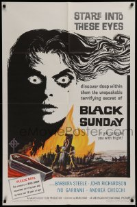 3a0794 BLACK SUNDAY 1sh 1961 Bava, deep in this demon's eyes is a hidden unspeakable secret!