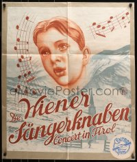 3a0006 CONCERT IN TIROL kraftbacked Dutch 1938 close-up of singer and notes over mountains, rare!