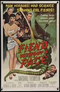 3a0879 FIEND WITHOUT A FACE 1sh 1958 giant brain & sexy girl in towel, mad science spawns evil!