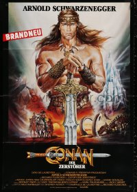 3a0092 CONAN THE DESTROYER German 33x47 1984 different art of Arnold Schwarzenegger by Casaro!