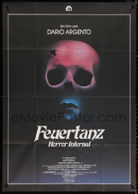 3a0098 INFERNO German 33x47 1980 Dario Argento horror, really cool skull & bleeding mouth image!