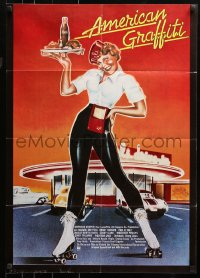 3a0118 AMERICAN GRAFFITI German 1974 George Lucas teen classic, completely different art!