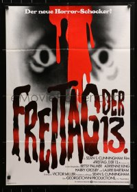 3a0164 FRIDAY THE 13th German 1980 great Alex Ebel art, slasher classic, 24 hours of terror!