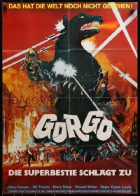 3a0171 GORGO German R1970 great different artwork of giant monster terrorizing London, rare!