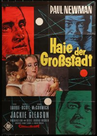 3a0179 HUSTLER German 1961 pool pros Newman & Gleason & sexy Piper Laurie by Rehak, ultra-rare!