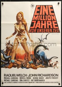 3a0216 ONE MILLION YEARS B.C. German 1966 sexy Raquel Welch, Jack Thurston art, dayglo title!