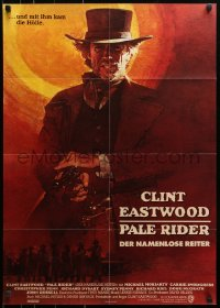 3a0219 PALE RIDER German 1985 great full art of cowboy Clint Eastwood by David Grove!