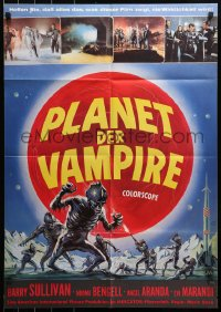 3a0221 PLANET OF THE VAMPIRES German 1969 Mario Bava, beings of the future, great Reynold Brown art!