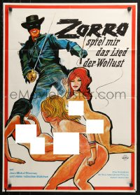 3a0226 RED HOT ZORRO German 1974 art of the masked hero pointing his sword at sexy naked babes!