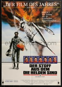 3a0227 RIGHT STUFF German 1984 top cast portraits, Chuck Yeager walking away from NF-104A crash!