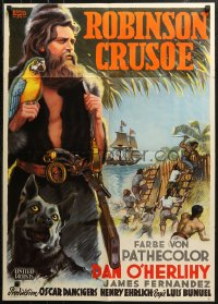 3a0229 ROBINSON CRUSOE German 1954 Luis Bunuel, different Schulz Neudanm art of Dan O'Herlihy!