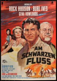 3a0247 SPIRAL ROAD German 1962 different Peltzer art of Rock Hudson, Gena Rowlands, Burl Ives!