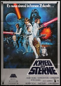 3a0248 STAR WARS German 1977 George Lucas sci-fi epic, montage art by Tom William Chantrell!