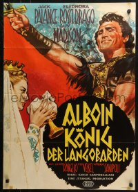3a0252 SWORD OF THE CONQUEROR German 1962 art of barbarian Jack Palance & woman w/skull goblet!