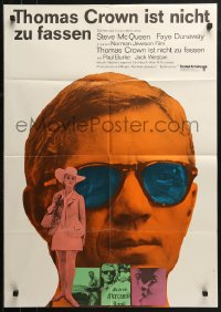 3a0256 THOMAS CROWN AFFAIR German 1968 Steve McQueen & sexy Faye Dunaway, black title style!