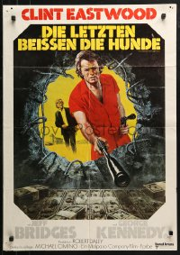 3a0261 THUNDERBOLT & LIGHTFOOT German 1974 art of Clint Eastwood with HUGE gun by Ken Barr!