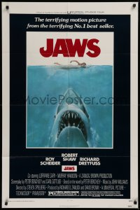 3a0949 JAWS 1sh 1975 Roger Kastel art of Spielberg's man-eating shark attacking sexy swimmer!