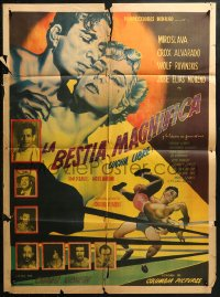 3a0047 LA BESTIA MAGNIFICA Mexican poster 1953 Lucha Libre, art of cast and wrestlers, different!