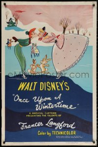 3a1045 ONCE UPON A WINTERTIME 1sh 1954 wonderful romantic art of couple on ice skates, ultra-rare!