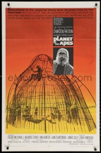 3a1064 PLANET OF THE APES 1sh 1968 Charlton Heston, classic sci-fi, cool art of caged humans!