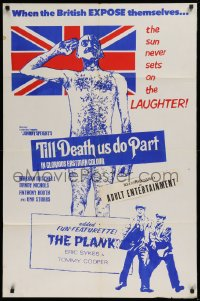 3a0008 TILL DEATH US DO PART/PLANK Canadian 1sh 1971 Mitchell standing naked in front of flag!