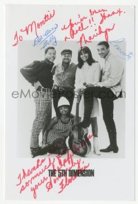 3f0885 5TH DIMENSION signed 4x6 photo 1966 by Billy Davis, Jr., Marilyn McCoo, LaRue & McLemore!