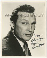 3f0763 WARREN STEVENS signed 8x10 still 1950s head & shoulders portrait wearing suit & tie!