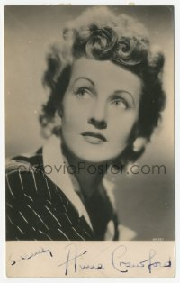 3f0887 ANNE CRAWFORD signed 4x6 photo 1940s head & shoulders portrait of the pretty actress!