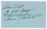 3f0773 ANNE FRANCIS signed 3x5 index card 1980s it can be framed with a repro still!