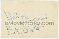 3f0779 BETTY BLYTHE signed 4x6 index card 1930s it can be framed & displayed with a repro!