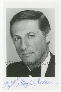 3f0918 LLOYD BOCHNER signed 4x6 photo 1980s head & shoulders portrait of the Canadian actor!