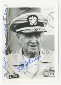 3f0919 LLOYD BRIDGES signed 4x5 photo 1990s great portrait as Admiral Tug Benson in Hot Shots!