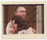 3f0922 MACDONALD CAREY color signed 4x5 photo 1980s hugging Suzanne Rogers in Days of Our Lives!