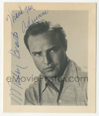 3f0925 MARLON BRANDO signed 4x4 photo 1950s head & shoulders portrait of the legendary leading man!