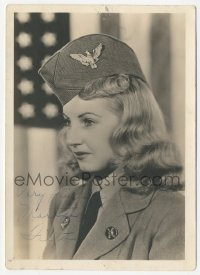 3f0926 MARTHA TILTON deluxe signed 5x7 photo 1940s c/u of the pretty actress in military uniform!