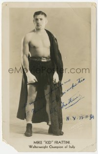 3f0929 MIKE FRATTINI signed 5x8 photo 1934 the professional welterweight champion of Italy!
