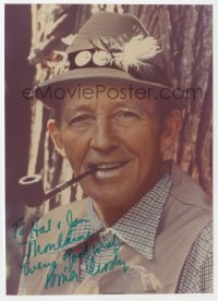 3f0893 BING CROSBY signed 5x7 color photo 1970s close portrait with hat & pipe late in his career!