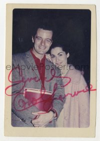 3f0941 ROBERT GOULET/CAROL LAWRENCE signed 3x4 color photo 1960s happy portrait of husband & wife!