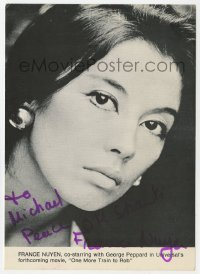3f0907 FRANCE NUYEN signed 5x7 photo 1971 super close sexy portrait of the Asian actress!