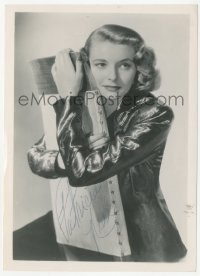 3f0934 PATRICIA NEAL signed 5x7 photo 1950s great portrait of the leading lady w/arms around chair!