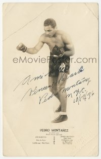 3f0937 PEDRO MONTANEZ signed 5x8 photo 1936 World's Premiere Lightweight boxer of Puerto Rico!