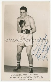 3f0942 ROCKY CASTELLANI signed 5x8 photo 1940s pro middleweight boxing who contended for the crown!