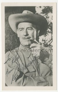 3f0943 ROY BARCROFT signed 4x6 photo 1970s great close up wearing cowboy hat & smoking pipe
