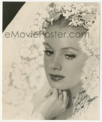 3f0945 SHIRLEY JONES signed 7x8 photo 1950s beautiful portrait in lace bridal gown with flowers!