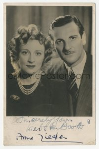 3f0948 WEBSTER BOOTH/ANNE ZIEGLER English signed 4x5 photo 1930s the English singing duo!